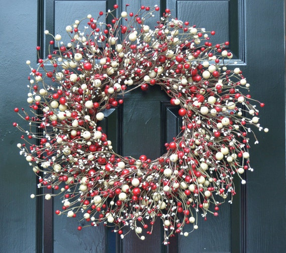 Red and Cream Berry Wreath- Valentines Day Wreath- Door Wreath- Year Round Wreath- Christmas Wreath-Winter Wreath-Candy Cane Christmas Decor