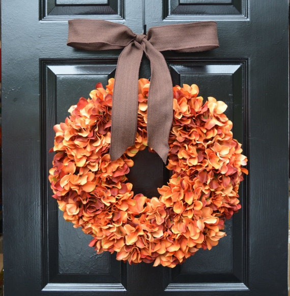 Orange Hydrangea Pumpkin Wreath Hydrangea Fall Wreath,Thanksgiving Wreath, Fall Decor, Orange Pumpkin Spice Fall Wreath