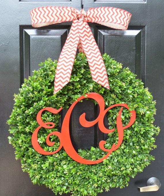 Custom Monogram Boxwood Christmas Wreath- Outdoor Christmas Wreath- Christmas Decor- Christmas Door Decoration- Christmas Gift- 18-24 inches