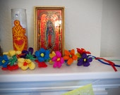 Colorful Mexican Paper Flower  Stem of 14 Flowers - Perfect for a gift or to add to your Day of the Dead altar