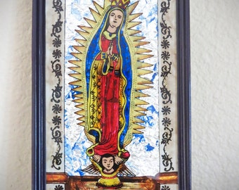 Hand painted GUADALUPE Foil Shrine- Perfect for your religious altar