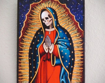 "Day of the Dead GUADALUPE  Calavera Santa Muerte 5"" x 7"" Wood Shrine by MARIPOSAFUERTE"