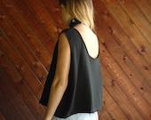 Black Sleeveless Crop Top Blouse - Vintage 90s - XL/XXL