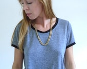 Set of Two Vintage 90s Gold Tone Round Snake Chain Necklaces Layering