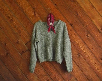 Chunky Grey Cropped Knit Pullover Sweater - Vintage 90s - MEDIUM