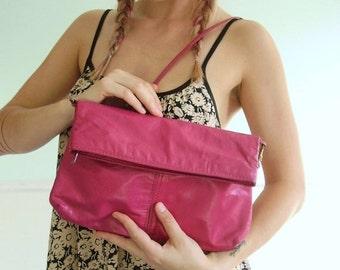 extra 25% off SALE ... Cranberry Pink Leather Foldover Shoulder Bag Purse Clutch - Vintage 80s