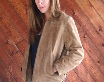 Brown Suede WILSONS Leather Zip Up Bomber Jacket - Vintage 90s - SMALL S