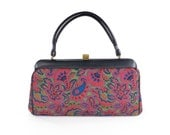 Vintage 1950s Tapestry Bag Structured Purse Paisley Henna Print Beaded Wristlet Tote