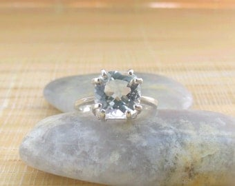 White Topaz Ring Sterling Silver Cushion Cut April Birthstone Ready to ship size 7