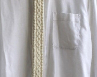 SALE / cable knit tie/ wool white