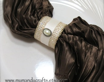 Cream Gold Mesh Napkin Rings for Wedding, Christmas or Dinner Party