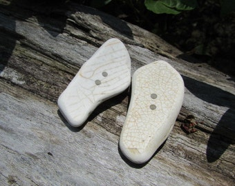 White CERAMIC BUTTON Pottery Beach Glass Buttons