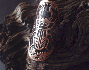 Copper Ring Cuff - Beetle Ring Cuff -Etched - Jewelry Ring - handmade from copper in my Studio in Austin, Tx - Jamie Spinello