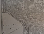 1914 City Map Seattle Washington - Vintage Antique Map Great for Framing 100 Years Old
