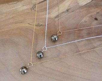 Gold Pyrite Necklace, Gold Filled Pyrite Necklace, Rose Gold Pyrite Necklace, Silver Pyrite Necklace, Sterling Silver Round Pyrite Necklace