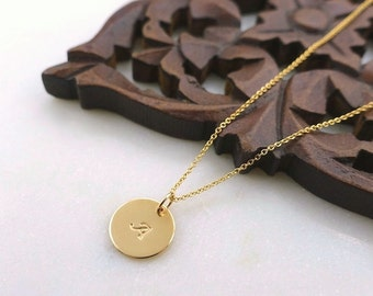 """Yellow Gold 1/2"""" Disc Initial Necklace, Gold Filled Disc Initial Necklace, Gold Monogram Necklace, Gold Filled Initial Disc Charm Necklace"""