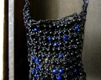 Crochet neck bag, crochet necklace bag, Beaded black neck pouch