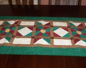 Quilted Table Runner, Handmade, 18x42 Inches, Star Lane Table Topper, Sale Priced, Machine Quilted, Christmas, Holiday Decor