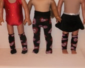 18 inch Doll Tights, Leg Warmers, Knee Socks, Black with Hearts, Accessory,  American Made, Girl Doll Clothes
