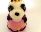 Needle Felted Princess Panda Bear Toy Sculpture Gift