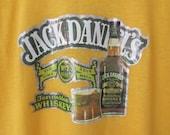 Vintage 1970s Jack Daniel's Tennessee Whiskey Iron on T-shirt / Yellow Unisex Tee