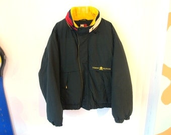 90s TOMMY HILFIGER Jacket Coat Zip Up Green Yellow and Red XXL