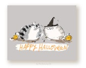 Happy Halloween Cat Card - Funny Halloween Cats - Witches Hat