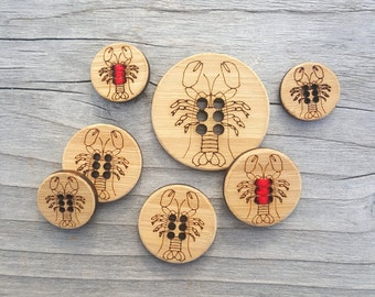 """Lobster Buttons Bamboo - (3/4"""" or 1"""") Card of 4 stitchable Buttons"""