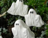 Ceramic Ghosts set of 3   terrarium miniature glazed Pottery . Spooky Boo family Halloween decor safe Outside