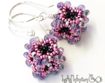 Baroque Cube Earrings in Pink and Purple Beaded Sterling Silver Wire