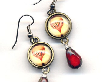 Hot Air Balloon Earrings, Surgical Steel Earrings, Air Balloon Earrings, Red Drop Earrings, Surgical Steel Jewelry by Annaart72