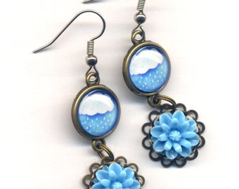 Rain Earrings, Cloud Earrings, Blue Earrings, Let it Rain Earrings, Rain Drop Earrings, Surgical Steel Earrings by AnnaArt72