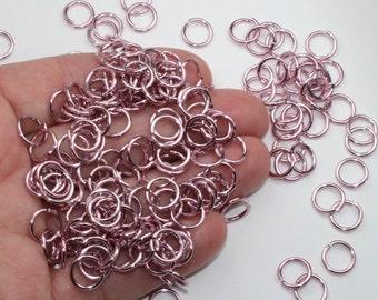 50+ Light Pink Jump Rings, Anodized Aluminum, 17 gauge (1.16mm), 6.75mm ID, 9.11mm OD, Shiny & Saw Cut
