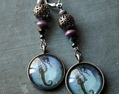 Seahorse Earrings - Steampunk, Mermaid, Trinket, Blue, Gunmetal, Lavender, Gray, Pirate, Belly Dance