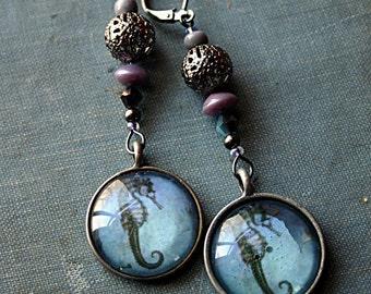 Seahorse - Mermaid Trinket Collection - Steampunk Earrings