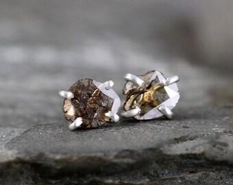 Diamond Slice Earrings - Rustic Diamond Earring - Sterling Silver Handmade Stud Earring - Rough Diamond Jewellery - Organic Shape