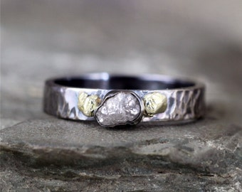 Raw Diamond and Natural Gold Nugget Ring - Sterling Silver Oxidized Patina - Rustic Band - Uncut Rough Diamond Gemstone Rings