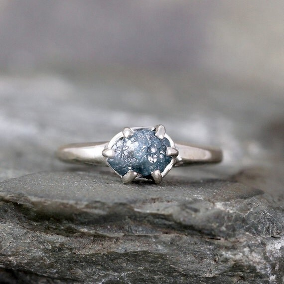 raw blue diamond ring uncut rough blue diamond