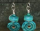 Handmade Rustic Dangle Earrings Ceramic and Glass Handmade Beads Gift Ideas for Her