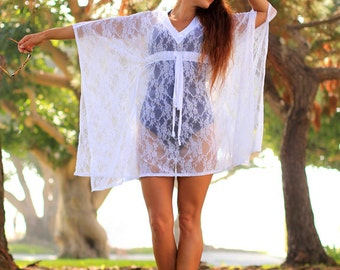 Lace Caftan Mini Dress - Beach Cover Up - Sheer Kaftan - White, Black, or Ivory
