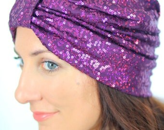 Women's Fashion Turban in Wine Sequins by Mademoiselle Mermaid - Lots of Colors