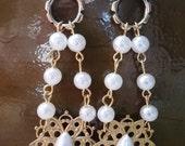 Vintage Victorian Style Bridal Chandelier Earrings OOAK