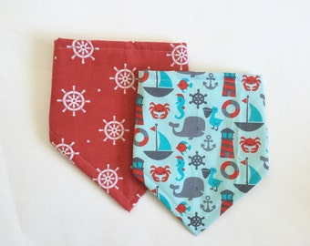 Nautical Bandana Bibs for Baby, Bibdana, Baby Shower Gift, 2 Pack Bib Set