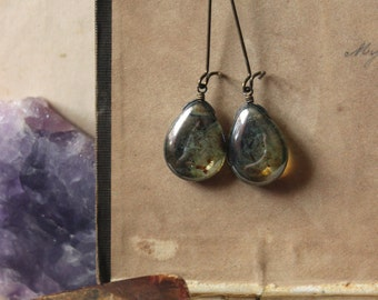 Galaxy. Rustic Boho Earthy Czech Glass Teardrop and Antiqued Brass Earrings.
