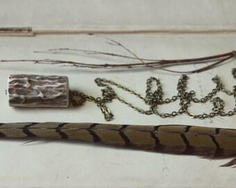 Deerheart. Rustic Woodland Bohemian Genuine Deer Antler Antiqued Brass Necklace.