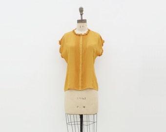 1980s Mustard Blouse, Vintage Mustard Top, Gold Ruffled Blouse, 80s Secretary Blouse, Marigold 80s Blouse, Designer Blouse, s, m