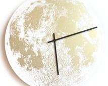"Gold Full Moon 14"" wall clock round, metallic hand painted screen printed on wood circle handmade built in Portland Oregon Little Lark"