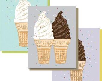 Ice Cream Card, A2 size Ice Cream Greeting Cards, I Scream blank card, vanilla soft serve, chocolate ice cream, birthday card recycled