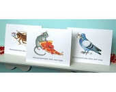 Funny Holiday Cards - 3 NYC Critters - Rat Pigeon Cockroach