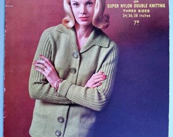 Vintage 1950s 1960s Knitting Pattern Women's Cardigan Jacket with collar - beatnik style look - 50s 60s original pattern Sirdar No. 7829 UK